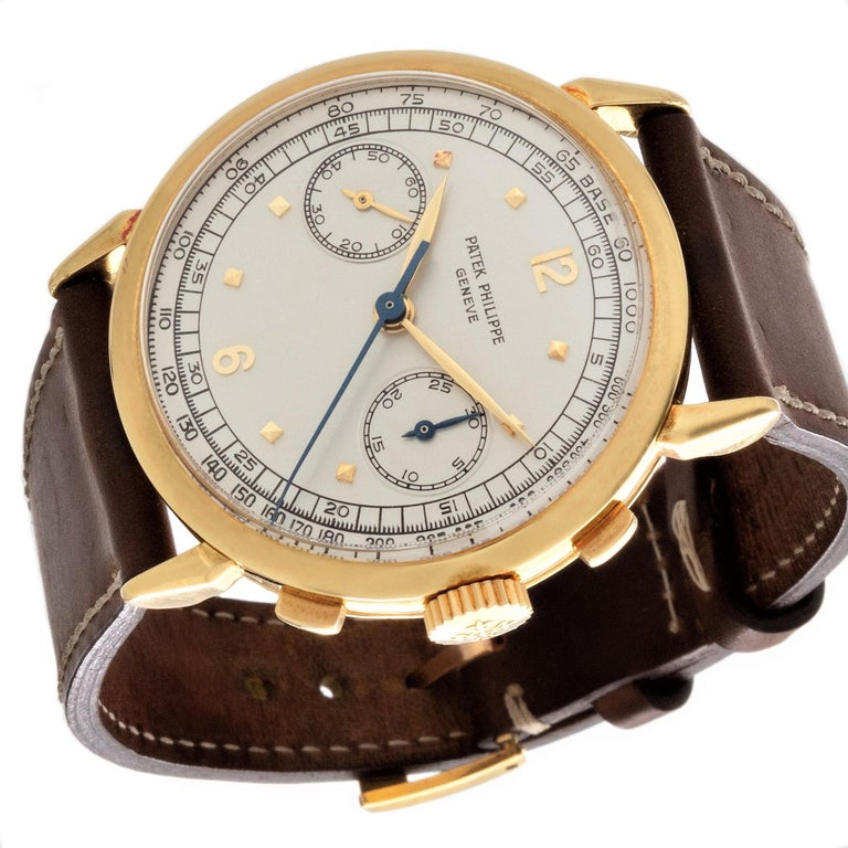 Women's or Men's Patek Philippe 1579J Chronograph Oversized Large Watch, circa 1951 For Sale