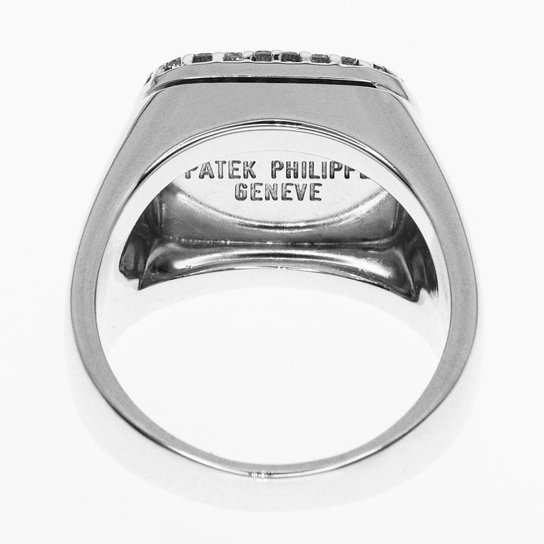 Square Cut Patek Philippe 18 Karat White Gold Lapis Lazuli Diamonds Ring For Sale