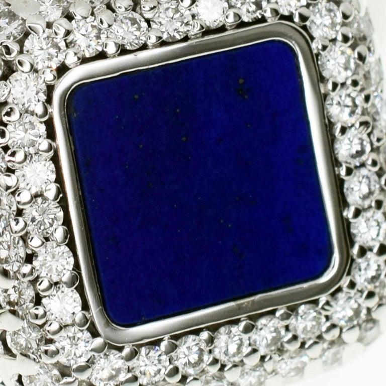 Patek Philippe 18 Karat White Gold Lapis Lazuli Diamonds Ring In Good Condition For Sale In Tokyo, JP
