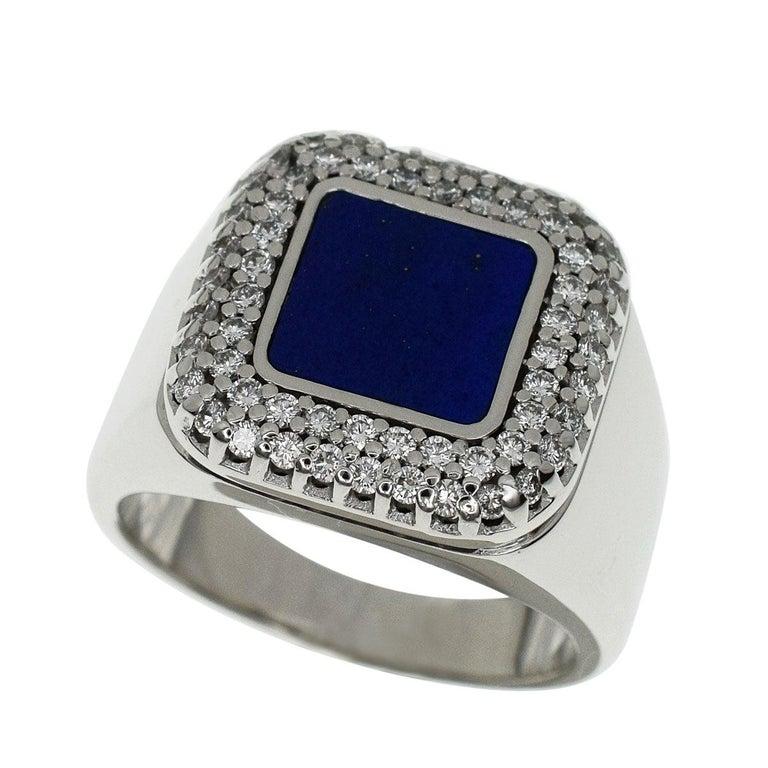 Patek Philippe 18 Karat White Gold Lapis Lazuli Diamonds Ring For Sale