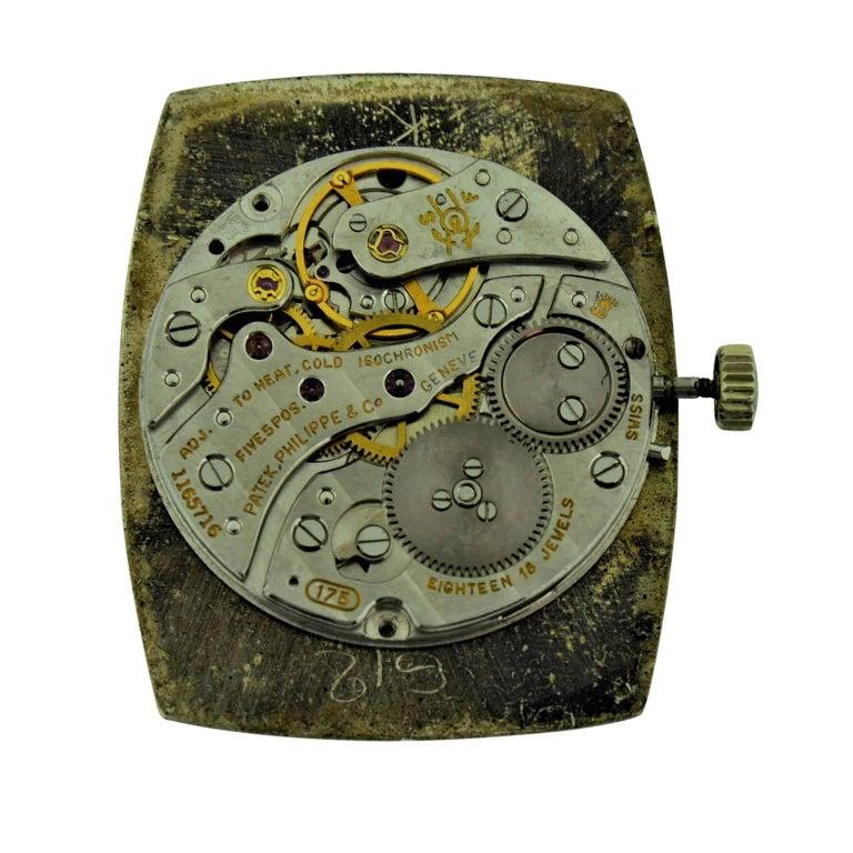 Patek Philippe 18 Karat White Gold Tonneau Shape Wristwatch with Carved Bezel For Sale 6