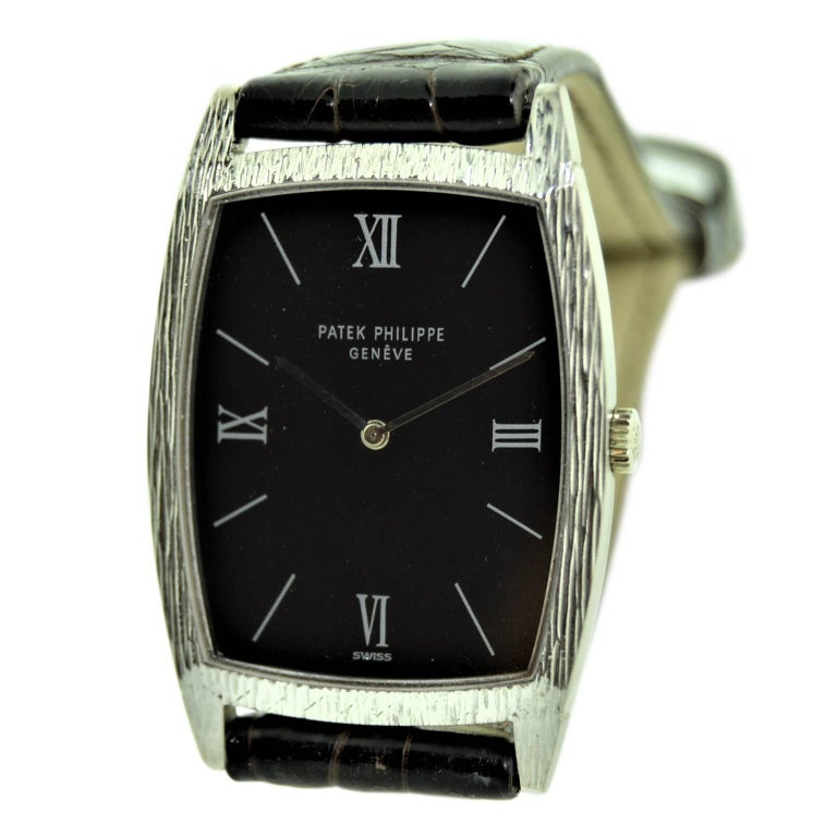 FACTORY / HOUSE: Patek Philippe, Geneve STYLE / REFERENCE: Dress Style / Ref. 3528 METAL / MATERIAL: 18Kt. Solid White Gold CIRCA: 1970 DIMENSIONS: 38mm X 26mm MOVEMENT / CALIBER: Manual Winding / 19 Jewels / Dal. 175 DIAL / HANDS: Original with