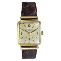 Patek Philippe 18 Karat Yellow Gold Art Deco Wristwatch with Archival Document