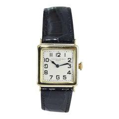 Patek Philippe 18 Karat Yellow Gold Art Deco Wristwatch with Silver Enamel Dial
