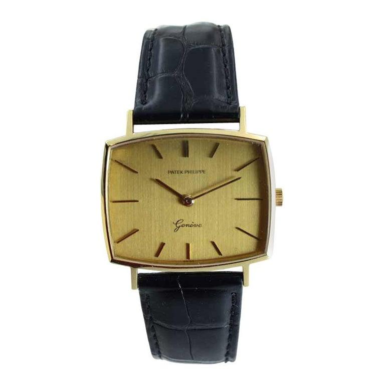 Patek Philippe 18 Karat Yellow Gold Cushion Shaped Watch, circa 1960s For Sale