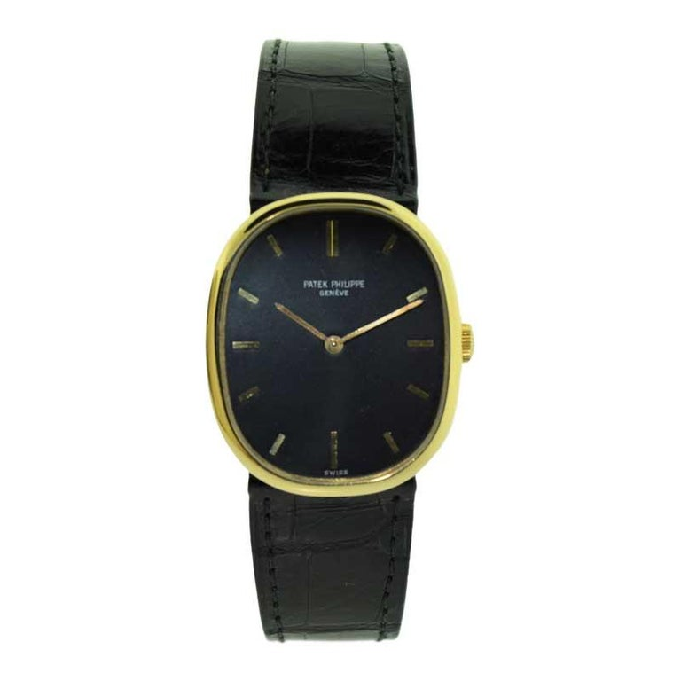 Patek Philippe 18 Karat Yellow Gold Ellipse Model with Original Strap and Buckle For Sale