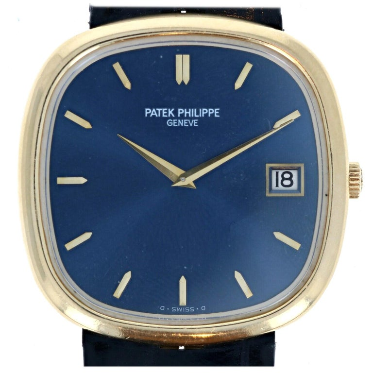 Patek Philippe 18 Karat Yellow Gold Jumbo Ellipse 3605 Blue Dial
