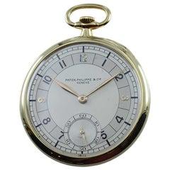 Patek Philippe 18 Karat, Yellow Gold Open Faced Art Deco Pocket Watch circa 1941