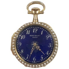 Patek Philippe 1893 Gold Enamel and Pearl Presentation Pendant Watch