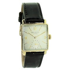 Patek Philippe 18k Gold Art Deco Tank Watch, from 1950 with Archival Document
