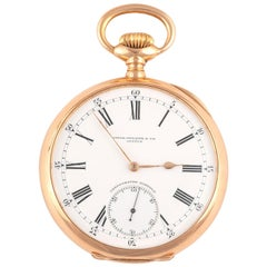 Patek Philippe 18k Gold Keyless Wind Open Face Pocket Watch Retailed by Gondolo