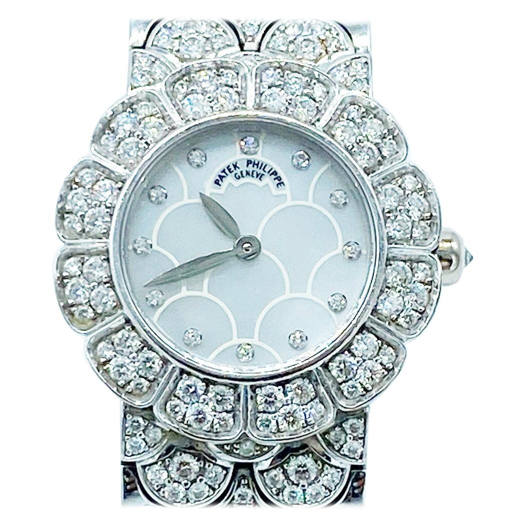 Patek Philippe 18k White Gold Diamond Mother of Pearl Ladies Watch 4872/1G