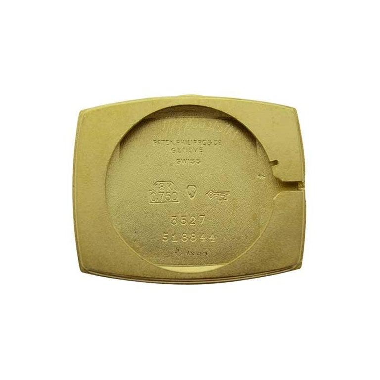 Patek Philippe 18 Karat Yellow Gold Cushion Shaped Watch, circa 1960s For Sale 5