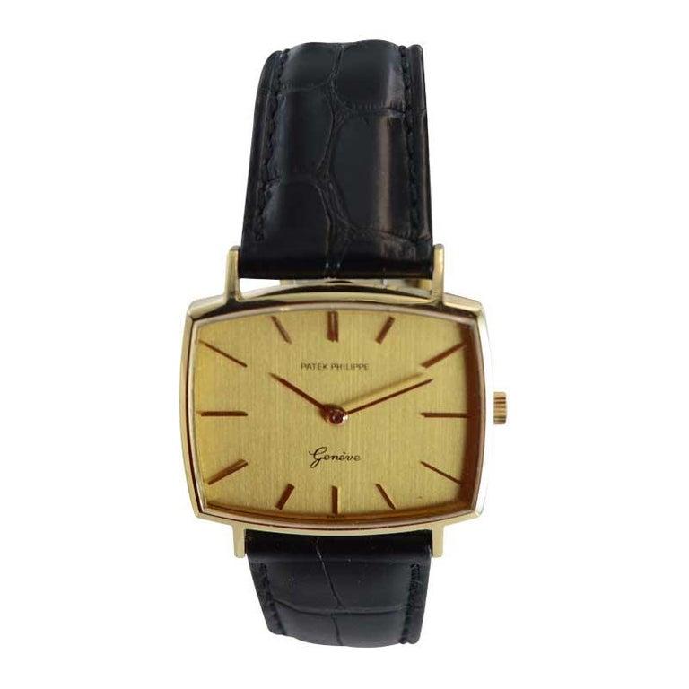 Modern Patek Philippe 18 Karat Yellow Gold Cushion Shaped Watch, circa 1960s For Sale