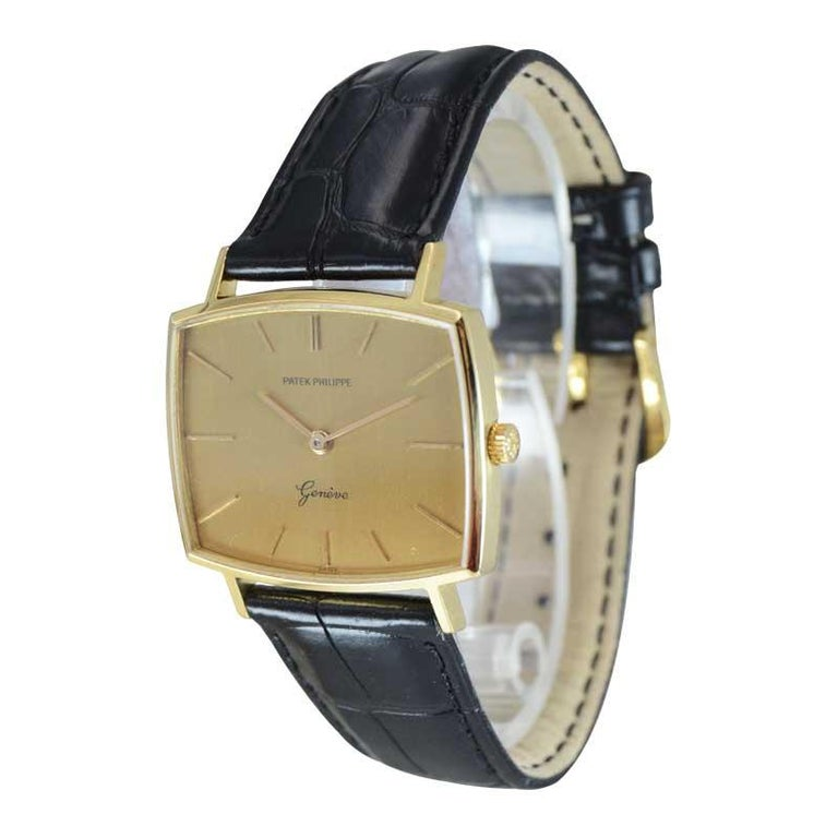 Patek Philippe 18 Karat Yellow Gold Cushion Shaped Watch, circa 1960s In Excellent Condition For Sale In Venice, CA