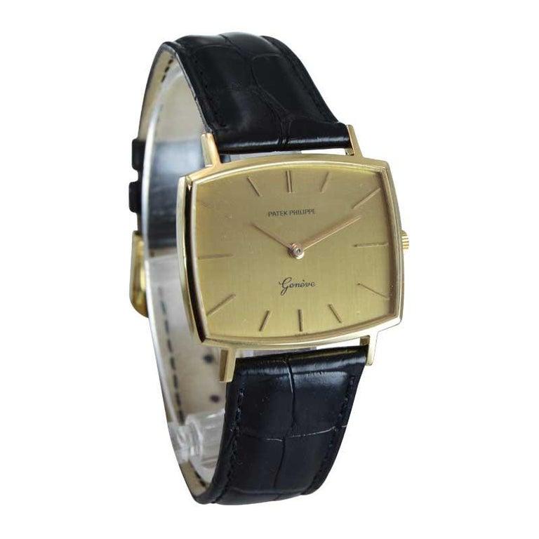Women's or Men's Patek Philippe 18 Karat Yellow Gold Cushion Shaped Watch, circa 1960s For Sale