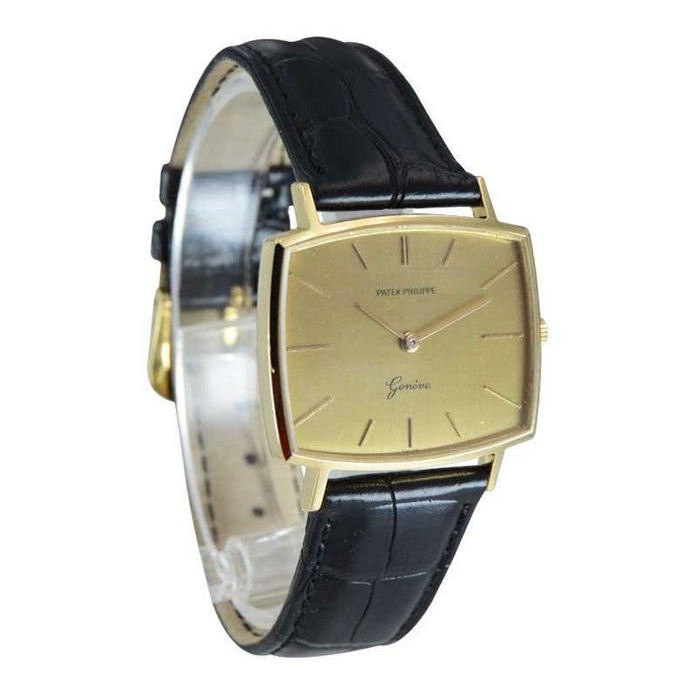 Patek Philippe 18 Karat Yellow Gold Cushion Shaped Watch, circa 1960s For Sale 1