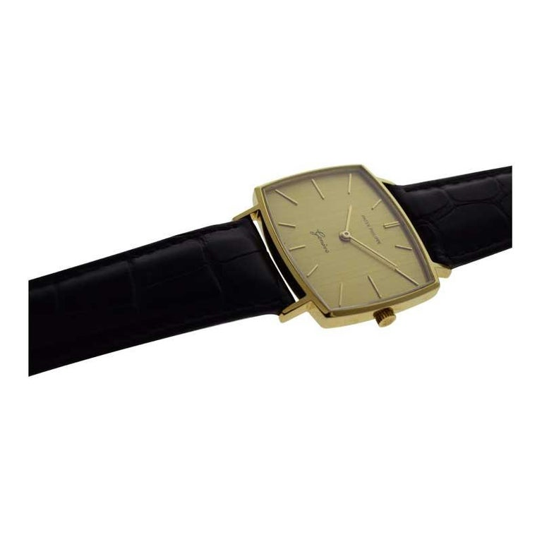 Patek Philippe 18 Karat Yellow Gold Cushion Shaped Watch, circa 1960s For Sale 2