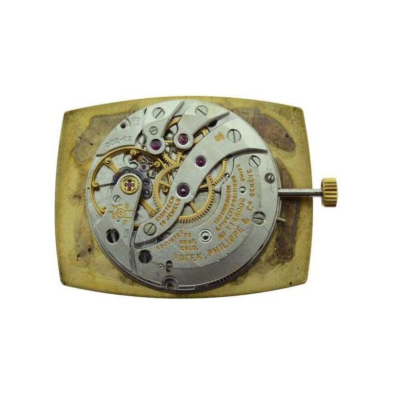 Patek Philippe 18 Karat Yellow Gold Cushion Shaped Watch, circa 1960s For Sale 4