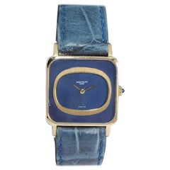 Patek Philippe 18 Karat Gold Dress Style with Original Blue Dial, circa 1990