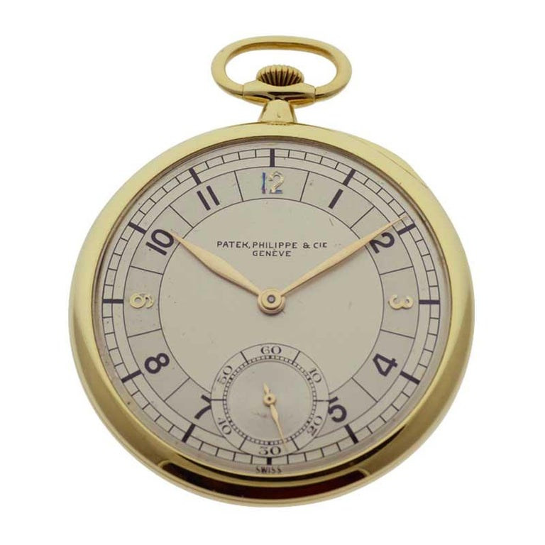 FACTORY / HOUSE: Patek Philippe & Cie. STYLE / REFERENCE: Pocket Watch Open Faced  METAL / MATERIAL: 18kt. Yellow Gold CIRCA / YEAR: 12-25-1941 DIMENSIONS / SIZE: 45mm MOVEMENT / CALIBER: Manual Winding / 19 Jewels / 8 Adjustments DIAL / HANDS: