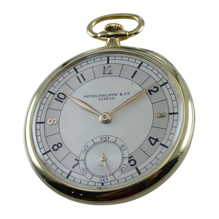 Patek Philippe 18 Karat, Yellow Gold Open Faced Art Deco Pocket Watch circa 1941 In Excellent Condition For Sale In Venice, CA
