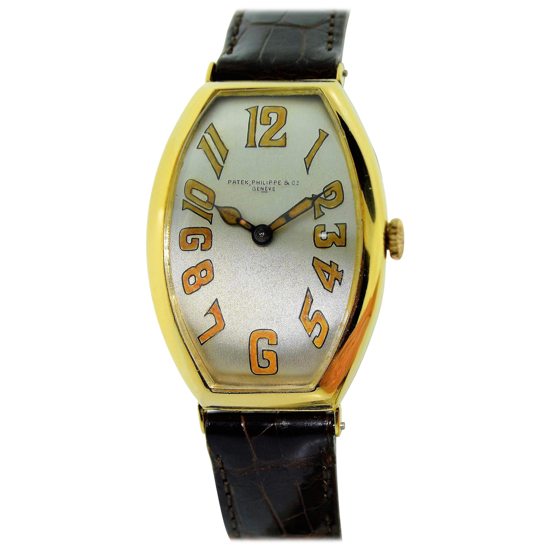 Patek Philippe 18kt. Yellow Gold Oversized Gondolo Manual Wind Watch from 1923
