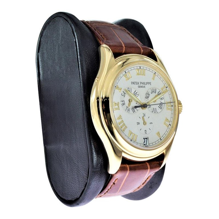 Patek Philippe 18 Karat Yellow Gold Ref. 5035 with Original Papers Just Serviced In Excellent Condition For Sale In Venice, CA
