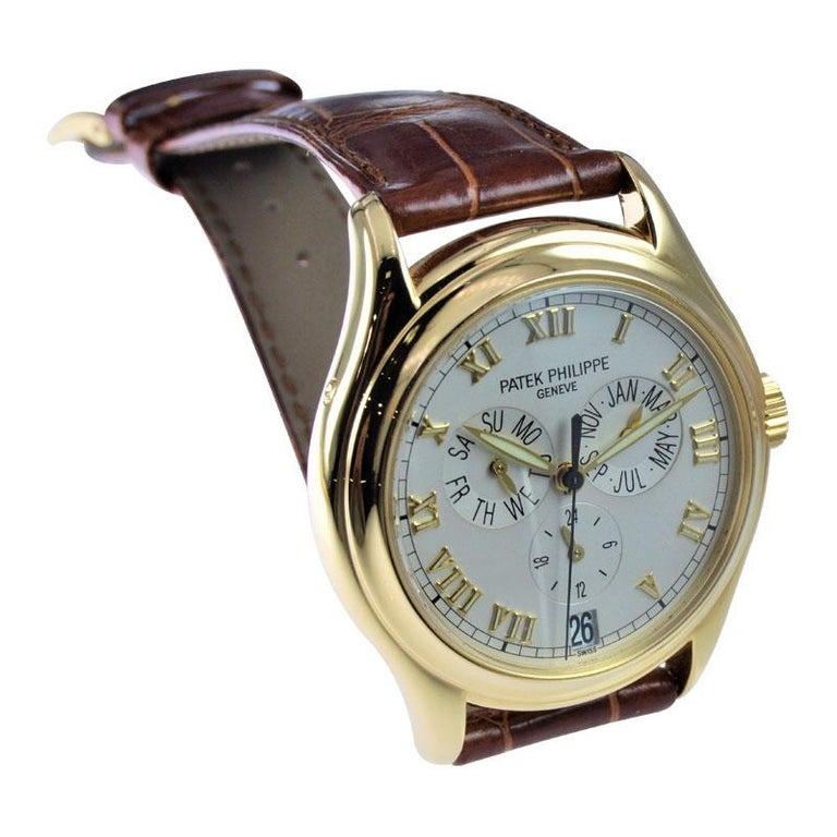 Men's Patek Philippe 18 Karat Yellow Gold Ref. 5035 with Original Papers Just Serviced For Sale