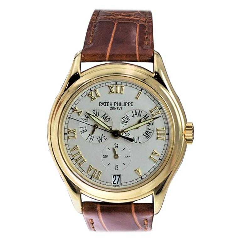 Patek Philippe 18 Karat Yellow Gold Ref. 5035 with Original Papers Just Serviced For Sale