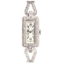 Patek Philippe 1920s Platinum and Diamond Ladies Mechanical Bracelet Wristwatch