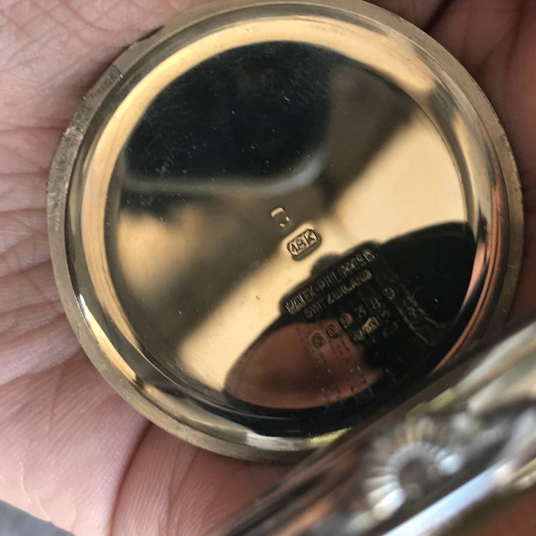 Patek Philippe 1933 Gents 18 Karat Gold Pocket Watch, Signed with Box and Papers For Sale 7