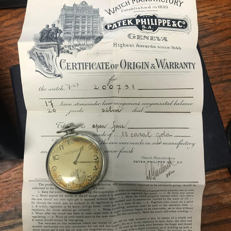 Patek Philippe 1933 Gents 18 Karat Gold Pocket Watch, Signed with Box and Papers For Sale 1