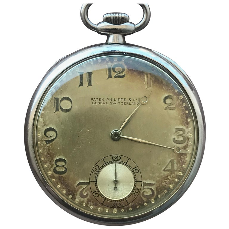 Patek Philippe 1933 Gents 18 Karat Gold Pocket Watch, Signed with Box and Papers For Sale