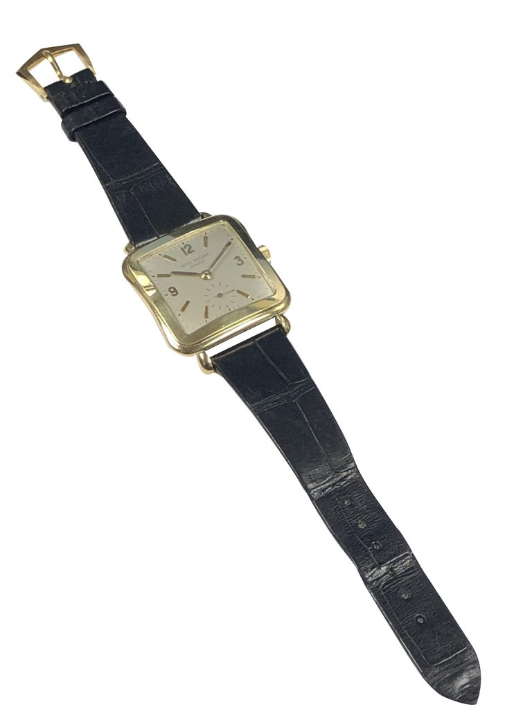 Patek Philippe 1950s Ref 2493 Large Yellow Gold Mechanical Wristwatch For Sale 1
