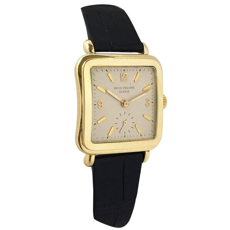 Patek Philippe 1950s Ref 2493 Large Yellow Gold Mechanical Wristwatch For Sale