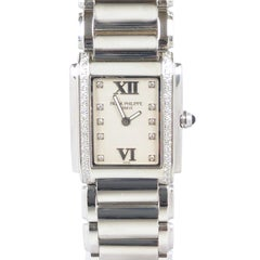 "Patek Philippe ""24"" Ladies Stainless Steel and Diamonds Quartz Wristwatch"
