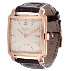 Patek Philippe 2436R Rose Gold Stepped Square Watch Circa 1952