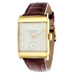 Patek Philippe 2479J Curved Domed Rectangular Watch with Stepped Case Circa 1950