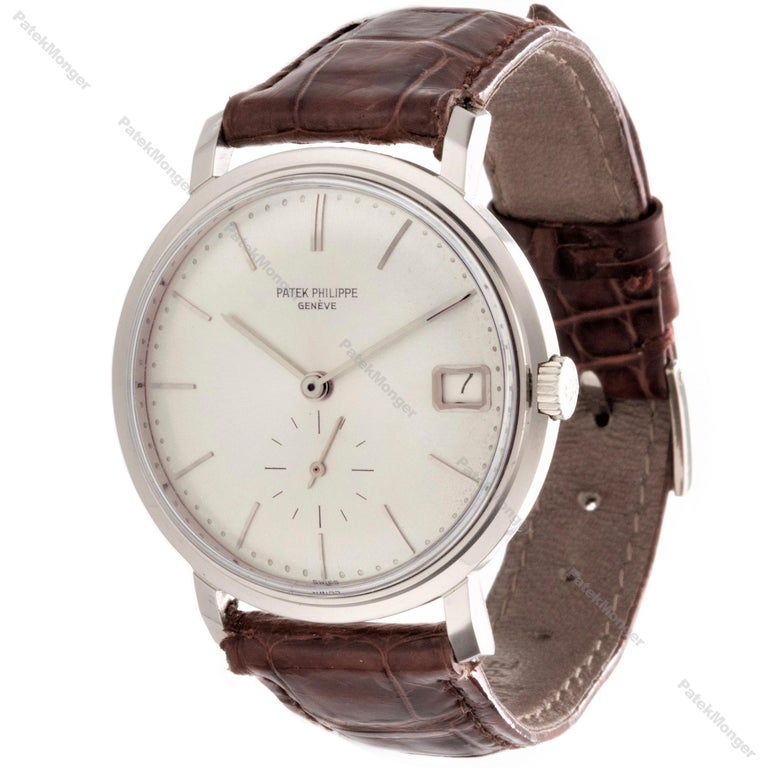 Introduction: This 3445G vintage Patek Philippe Calatravawatch features automatic movement, sub-second dial, date, screw down back case, new Patek alligator strap with original style 18K white gold Patek buckle.  With a 27