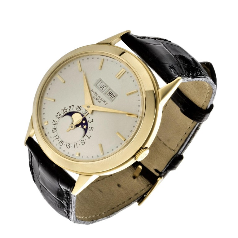Women's or Men's Patek Philippe 3448J Automatic Perpetual Calendar Watch For Sale