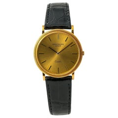 Patek Philippe 3862 Automatic Mens 18K Yellow Gold Watch Leather Band