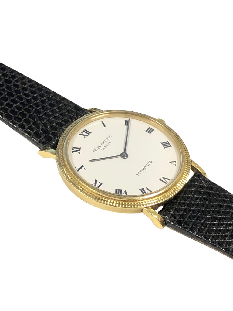 Patek Philippe 3954 Calatrava Yellow Gold Tiffany & Co. Classic Wrist Watch In Excellent Condition For Sale In Chicago, IL