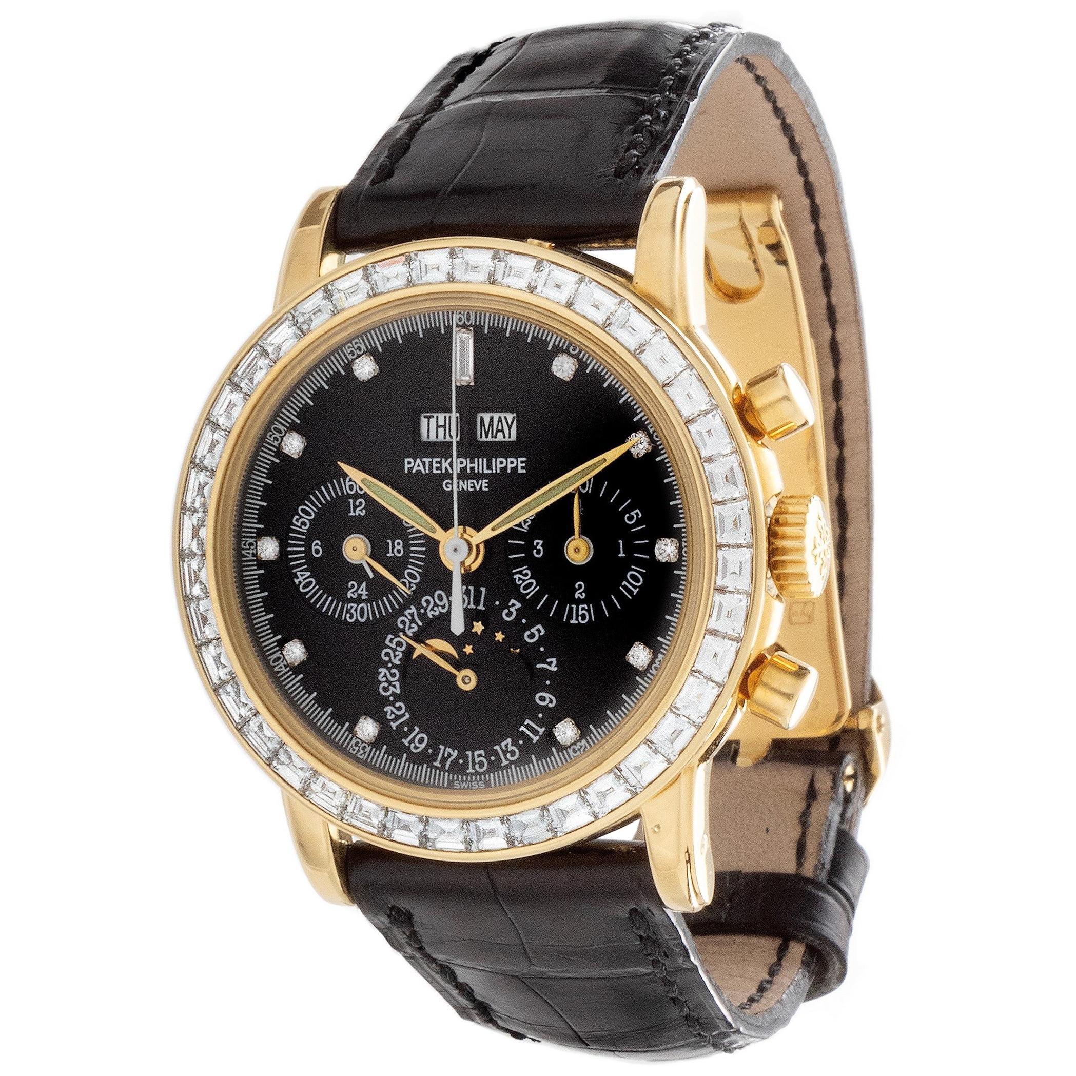 Patek Philippe 3990EJ Perpetual Calendar Chronograph Diamond Bezel Watch