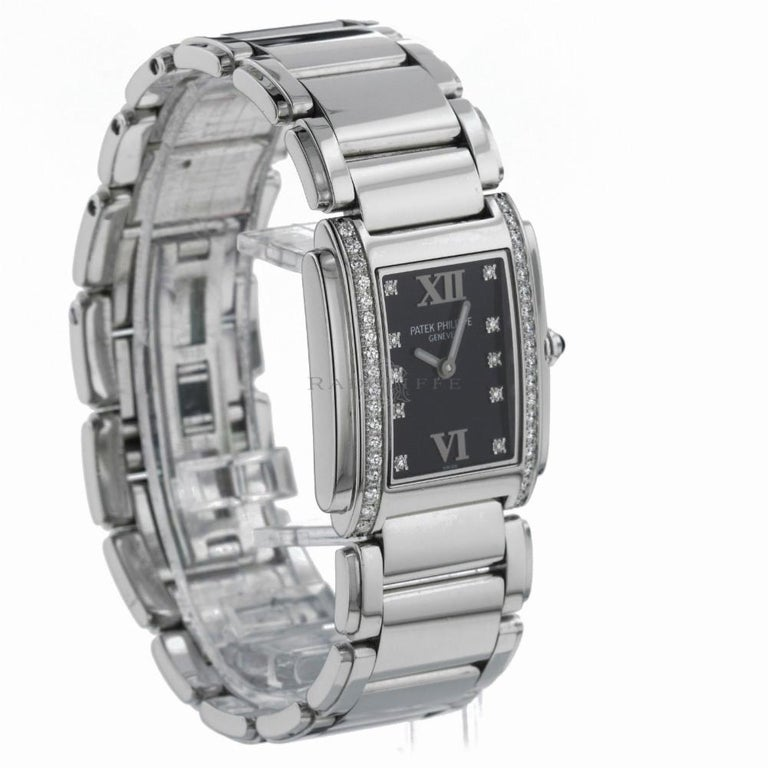 Patek Philippe Twenty 4 Reference #:4910/10A-001. Women's  stainless steel, Patek Philippe, Twenty 4  4910/10A-001, swiss quartz. Verified and Certified by WatchFacts. 1 year warranty offered by WatchFacts.