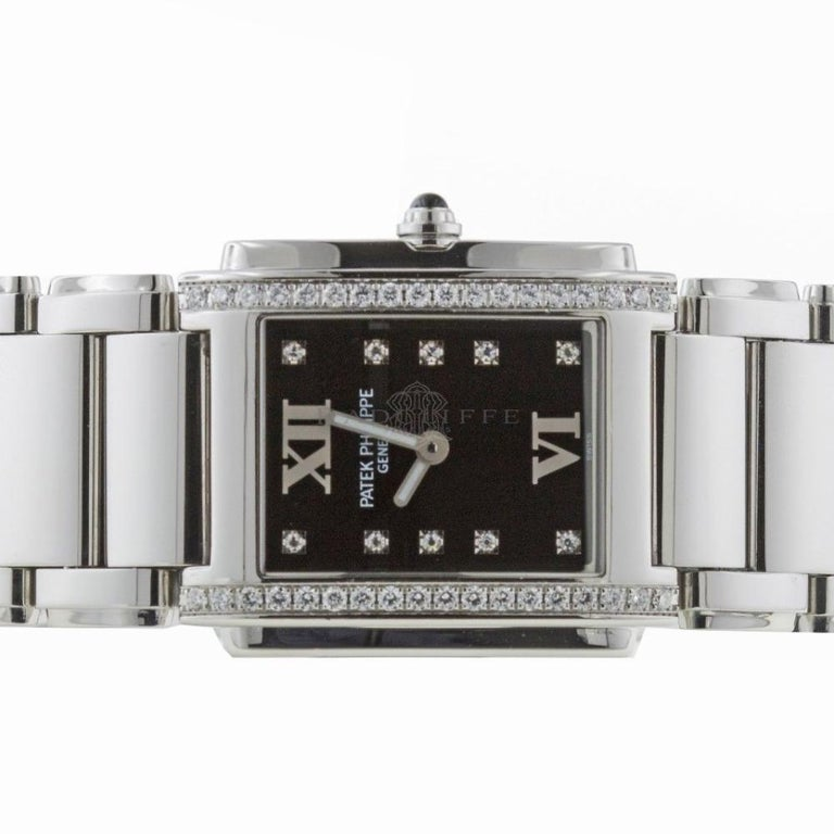 Contemporary Patek Philippe 4910/10A-001 Twenty-4 4910 Black Diamond Dial Quartz Ladies Watch For Sale