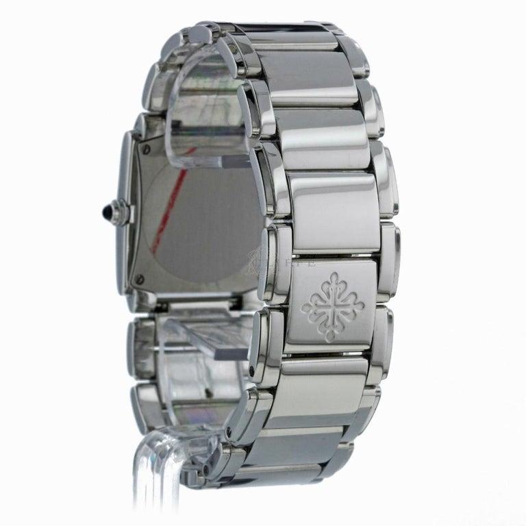 Patek Philippe 4910/10A-001 Twenty-4 4910 Black Diamond Dial Quartz Ladies Watch In Excellent Condition For Sale In Miami, FL