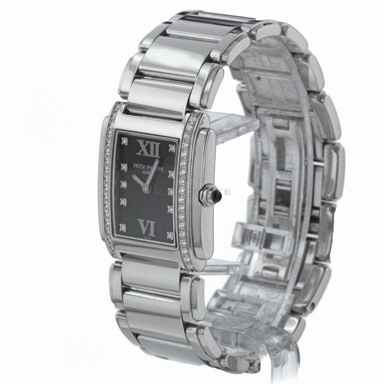 Women's Patek Philippe 4910/10A-001 Twenty-4 4910 Black Diamond Dial Quartz Ladies Watch For Sale