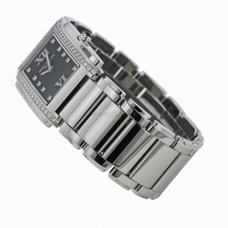 Patek Philippe 4910/10A-001 Twenty-4 4910 Black Diamond Dial Quartz Ladies Watch For Sale 1
