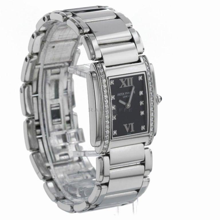 Patek Philippe 4910/10A-001 Twenty-4 4910 Black Diamond Dial Quartz Ladies Watch For Sale 2